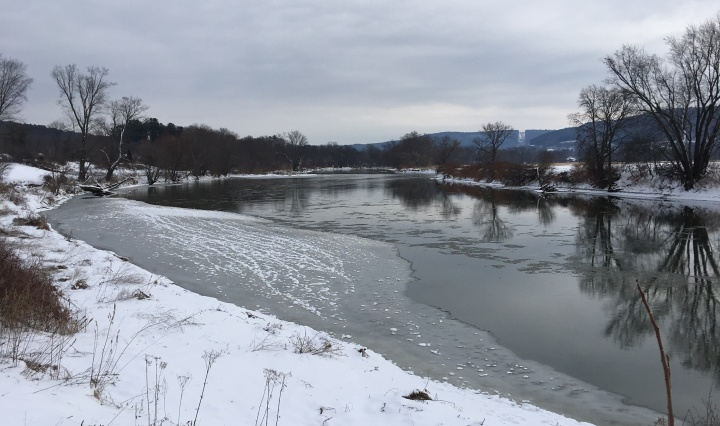View of a river where ice is beginning to build up to one side.