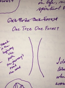 Handwritten journal sketch of One Tree One Forest which looks like the trunk of a tree