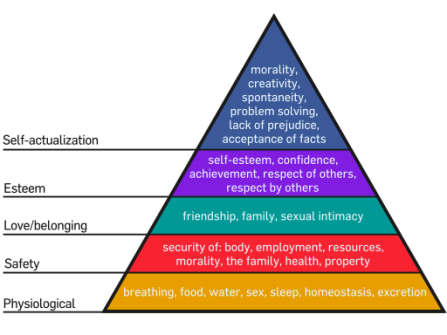 A pyramid of needs starts with very basic needs at the bottom - physiological. Going up the pyramid are other layers including safetry, love and belonging, esteem and at the top self-actualization